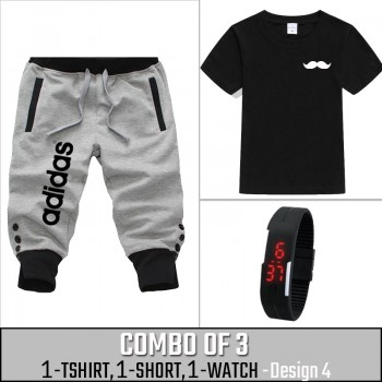 Combo of 3 ( 1 Shirt , 1 Watch , 1 Short ) ( Design-4) - Gray