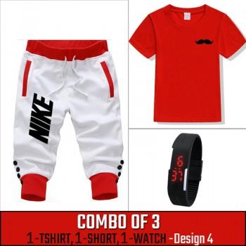 Combo of 3 ( 1 Shirt , 1 Watch , 1 Short ) ( Design-4) - White