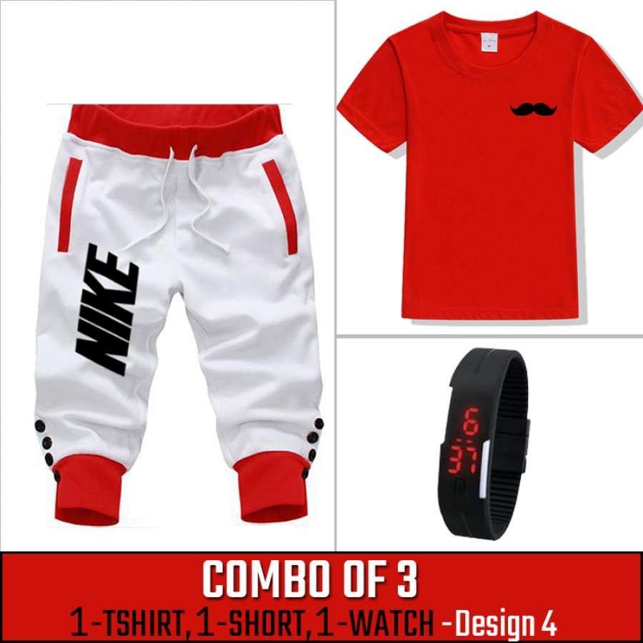 Combo of 3 ( 1 Shirt , 1 Watch , 1 Short ) ( Design-4) - White