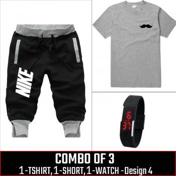 Combo of 3 ( 1 Shirt , 1 Watch , 1 Short ) ( Design-4)  - Black