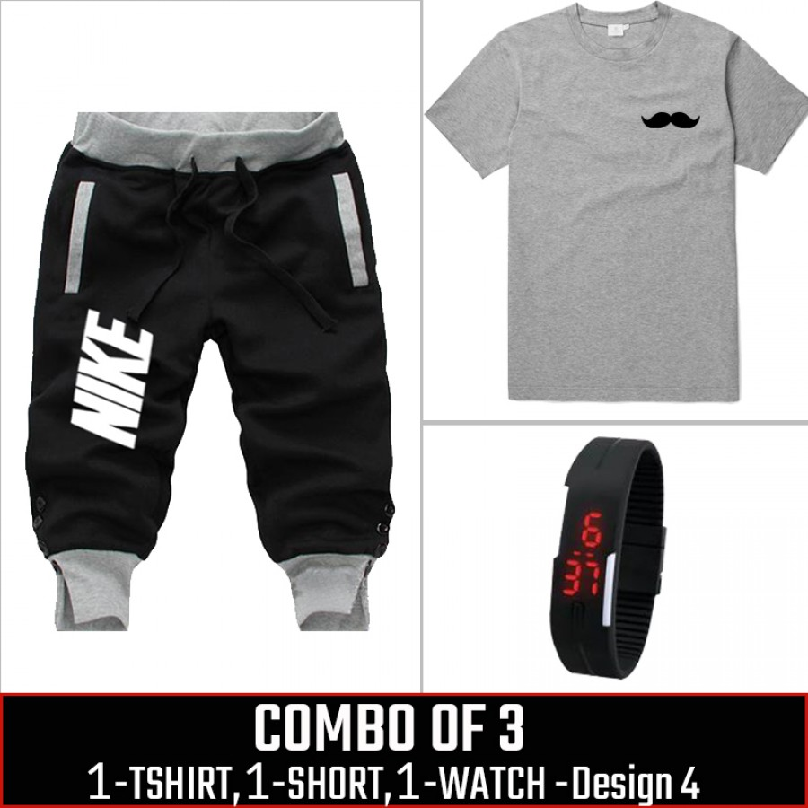 Combo of 3 ( 1 Shirt , 1 Watch , 1 Short ) ( Design-4)  - Black