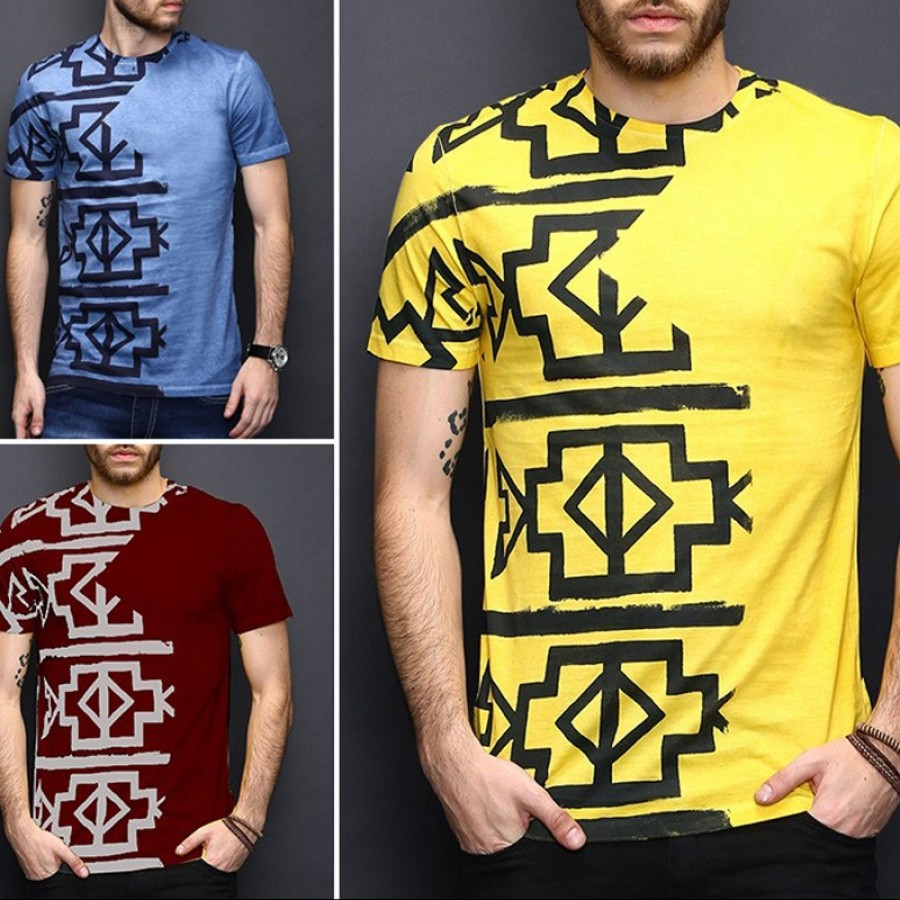 Pack of 3 Half Body Print Round Neck Half Sleeves TShirt
