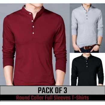 Pack of 3 Round Collar Full Sleeves T-shirts