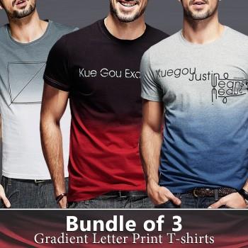Bundle Of 3 ( Gradient Letter Print T-Shirts)