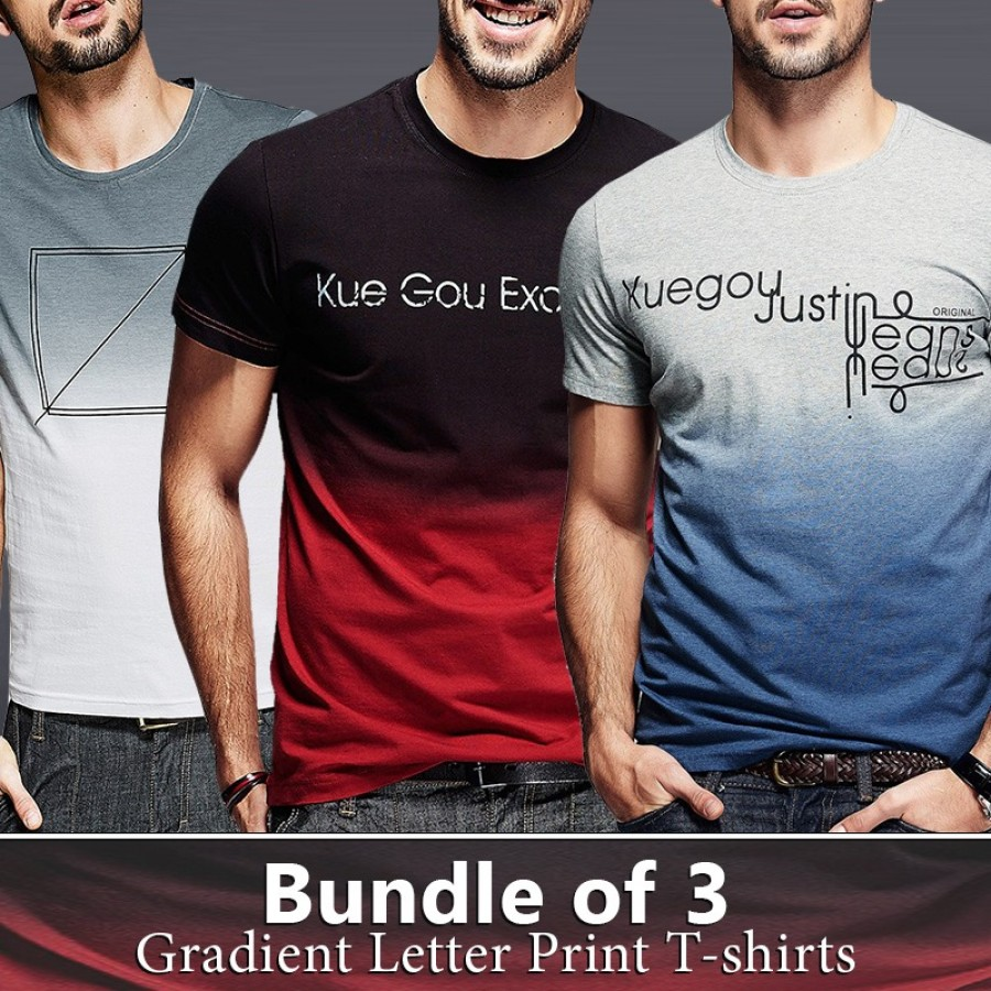 Bundle Of 3 ( Gradient Letter Print T-Shirts)