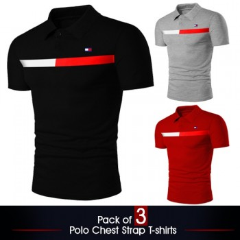 Pack Of 3 ( Polo Chest Starp T-Shirts)