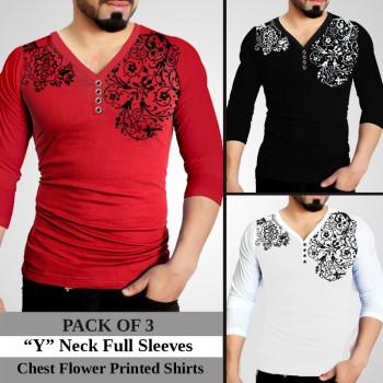 Pack Of 3 Y Neck Full Sleeves Printed T-Shirts