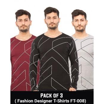 Pack Of 3 ( Fashion Designer  T-Shirts FT-008)
