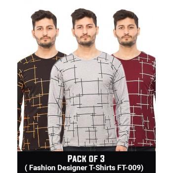 Pack Of 3 ( Fashion Designer  T-Shirts FT-009)