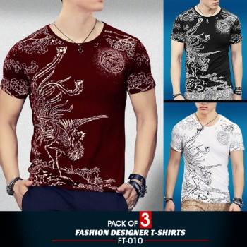 Pack Of 3 ( Fashion Designer  T-Shirts FT-010)