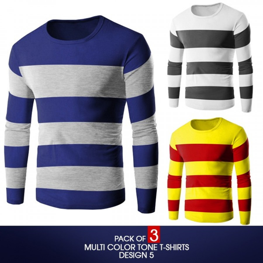 Pack Of 3 ( Multi Color Tone T-Shirts)