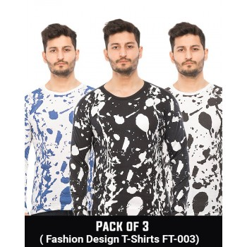 Pack Of 3 ( Fashion Design T-Shirts FT-003)