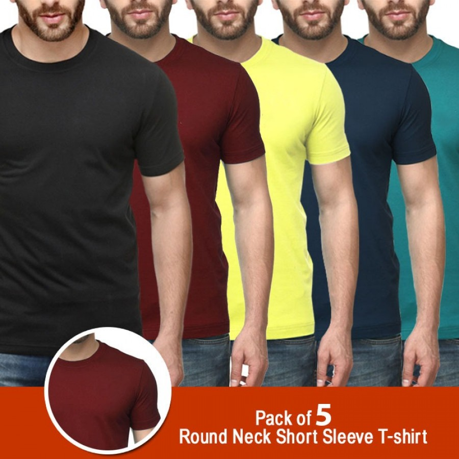 Pack of 5 Round Neck Short Sleeves T-shirts