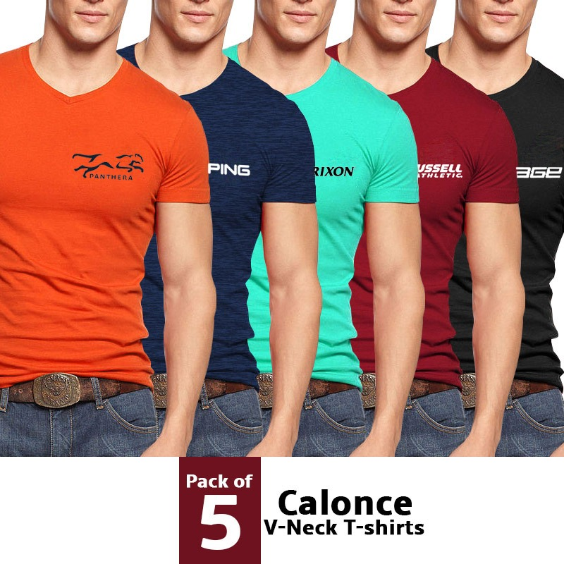 d4c2f923d16a Men's Clothing : Pack Of 5 Calonce V-Neck T-shirts