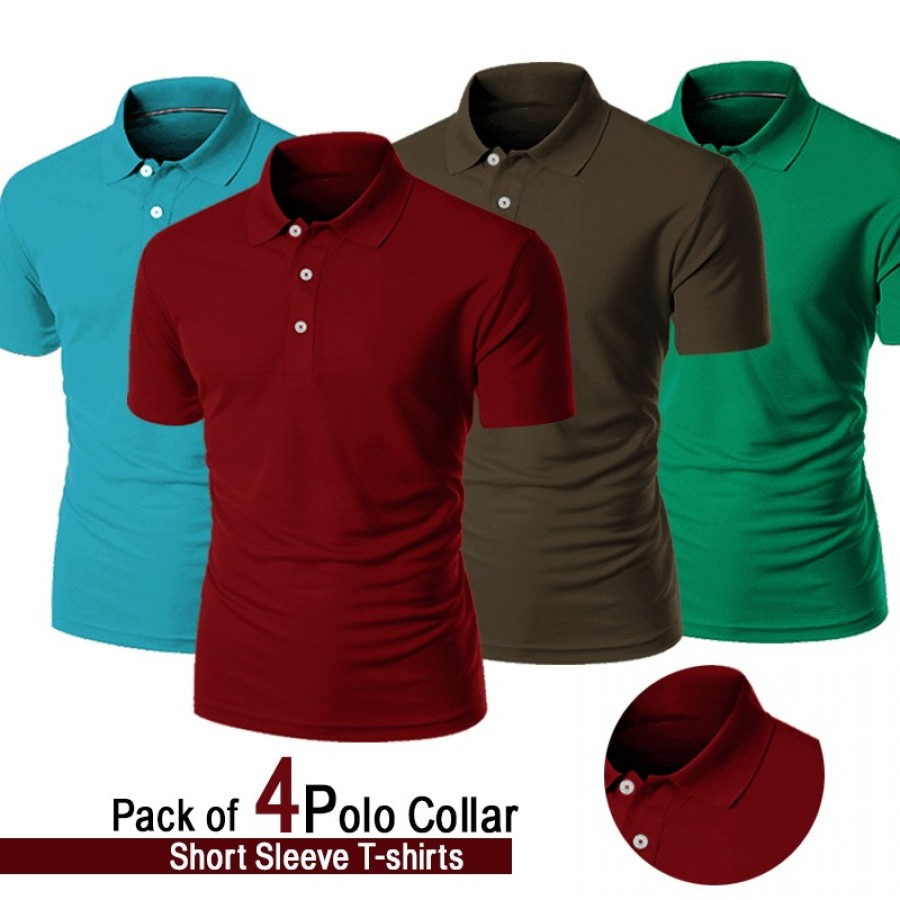 Pack Of 4 Polo collar short sleeve T-shirt