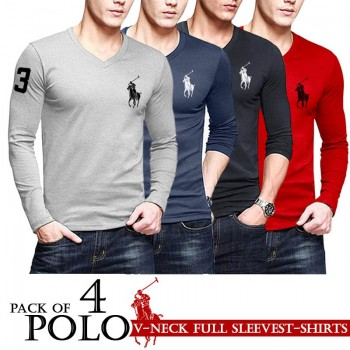 Pack of 4 Polo V Neck Full Sleeves Shirts