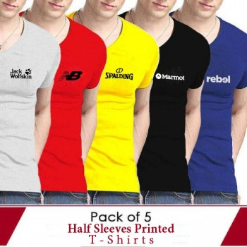 Pack of 5 Half Slevees Printed T-Shirts