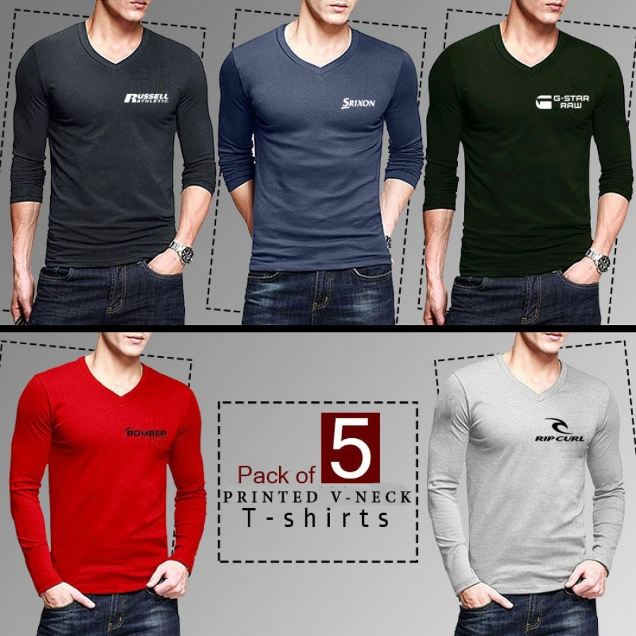 Pack of 5 Logo Printed V Neck Shirts - Design 4