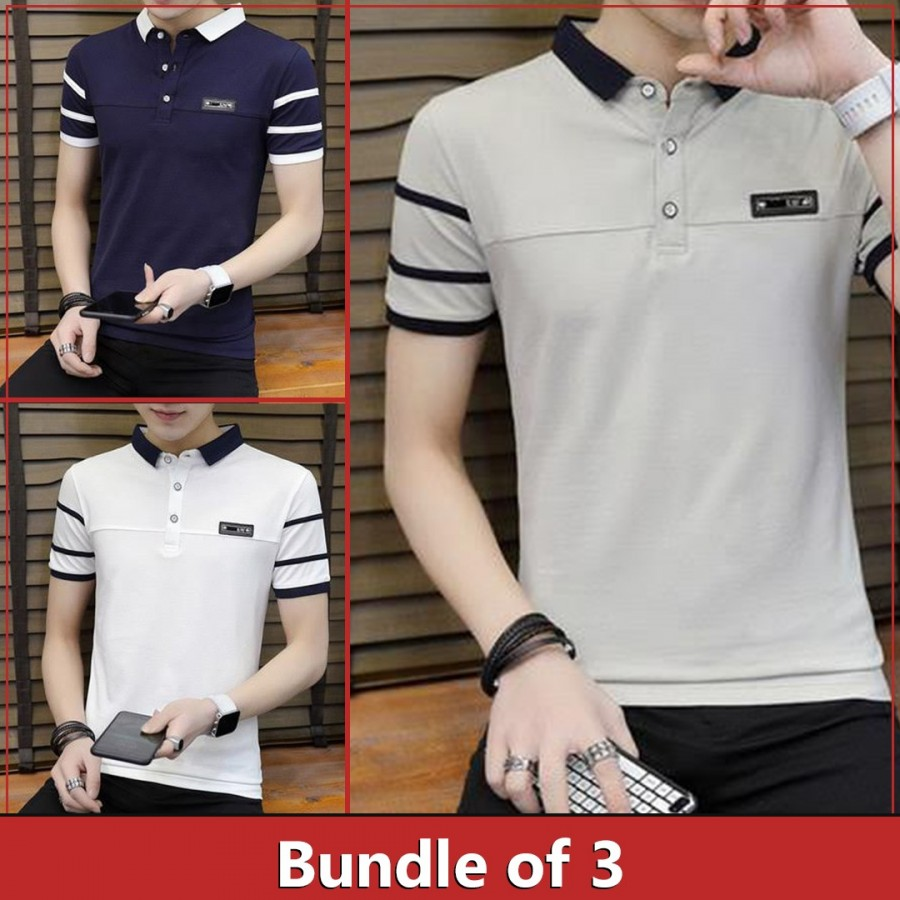 Bundle of 3 double collar strip sleeves t shirt