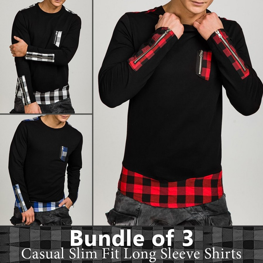 Bundle of 3 Casual Slim Fit Long Sleeves Shirts