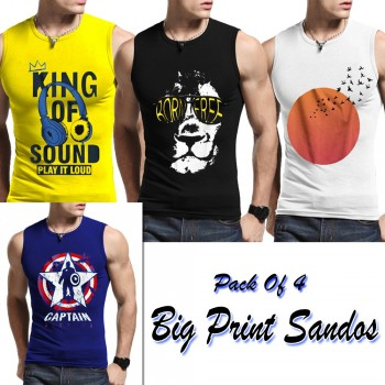 Pack of 4 Big Print Sandos