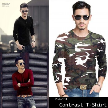 Pack of 3 Contrast T-Shirts