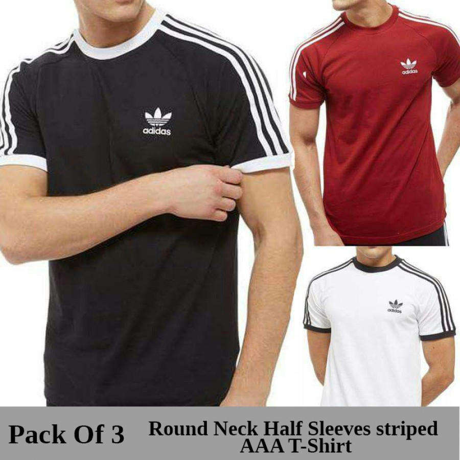 Pack of 3 Round Neck Half Sleeves striped AAA T-Shirt