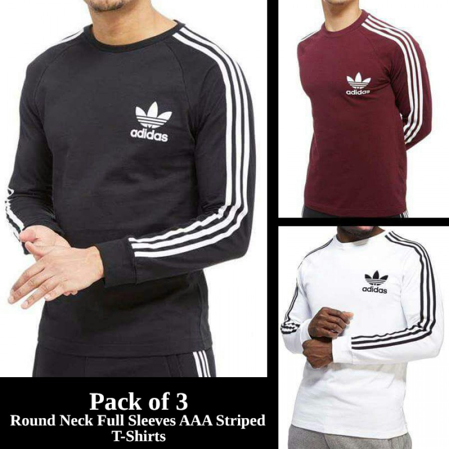 Pack of 3 Round Neck Full Sleeves AAA Striped T-Shirts
