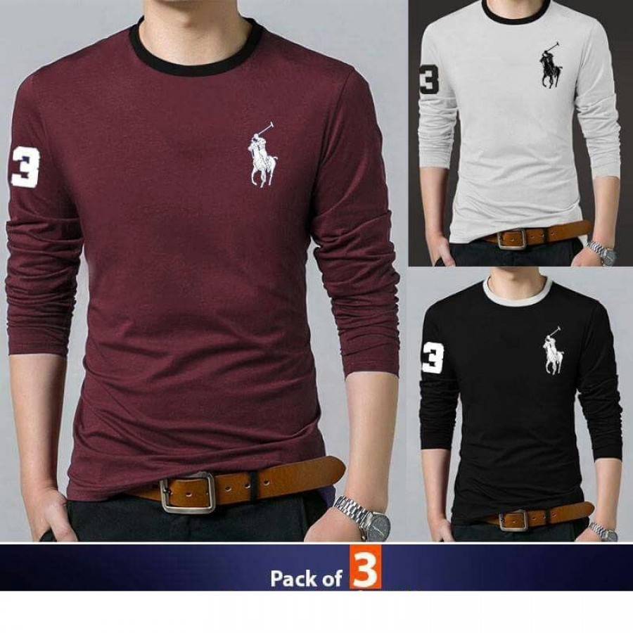 Pack of 3 round neck full sleeves polo style Tshirt