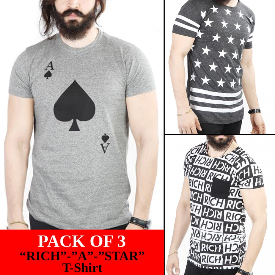 """Pack of 3 """"Rich""""- """"A"""" -Star"""" tshirt"""