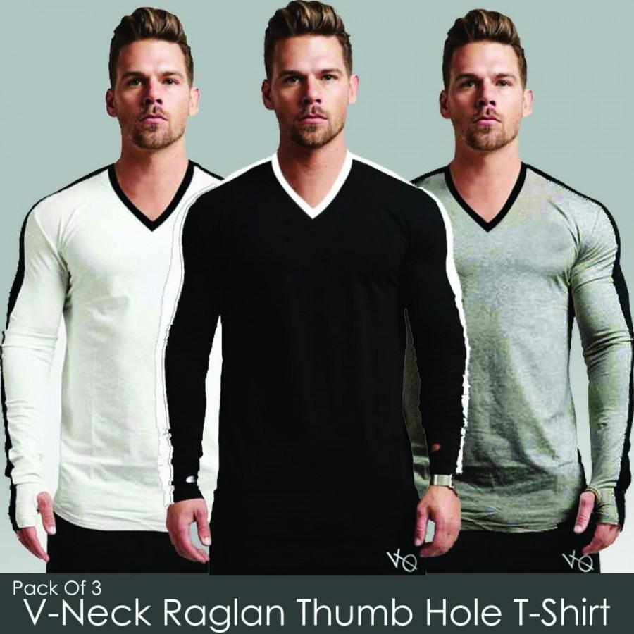 Pack of 3 V-Neck Roglan Thumb Hole T-Shirt