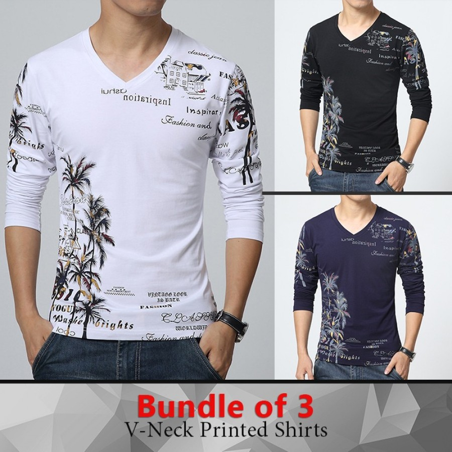 Pack of 3 V-Neck Printed T-Shirts
