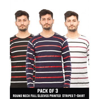 Pack of 3 Round Neck Full Sleeves Printed Stripes T-Shirt