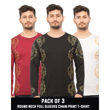 Pack of 3  Round Neck Full Sleeves Chain Print T-Shirt