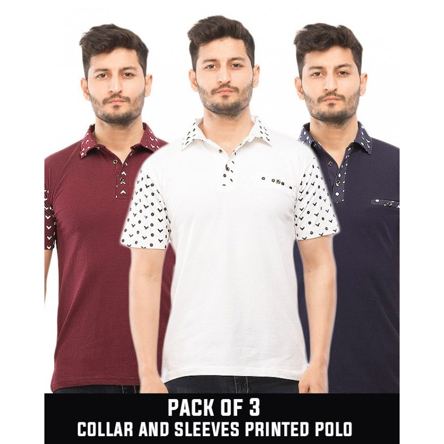 Pack of 3  collar and sleeves printed polo