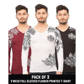 Pack of 3  V Neck Full Sleeves Flower Printed T-Shirt