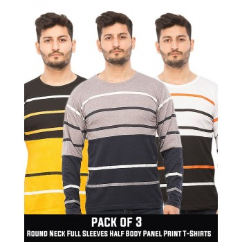 Pack of 3 Round Neck Full Sleeves Half Body Panel Print T-Shirts