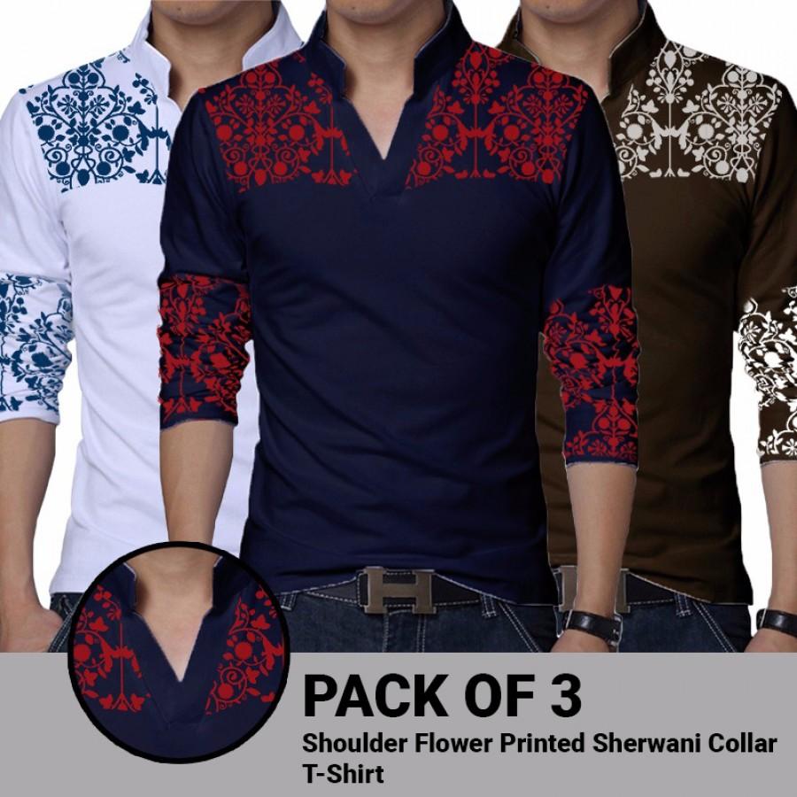 Pack of 3 Shoulder Flower Printed Sherwani Collar  T-Shirt