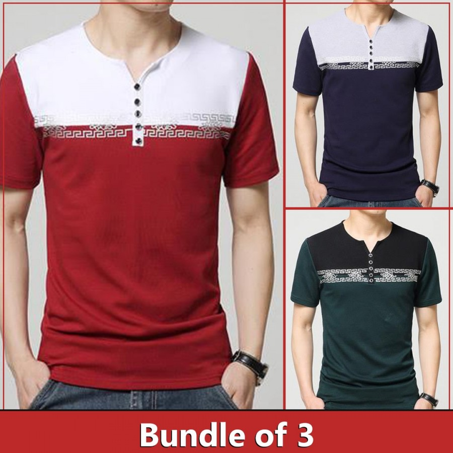 Bundle of 3 block printed open neck t shirts