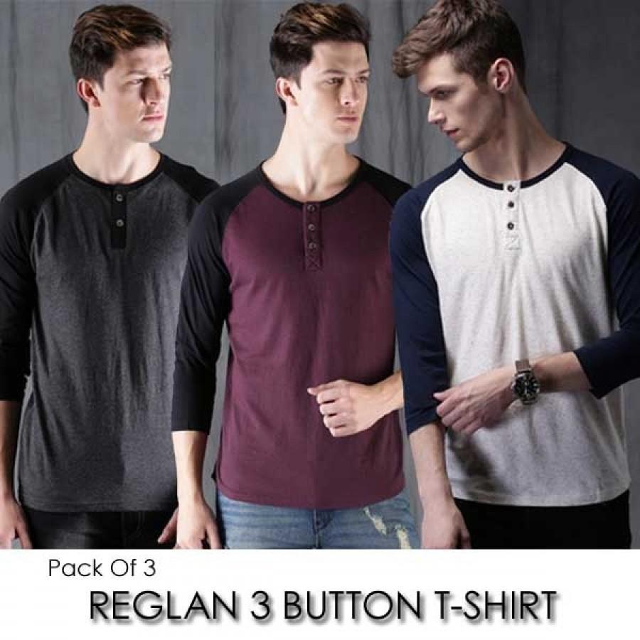 Pack of 3 Reglan 3 Button T-Shirt