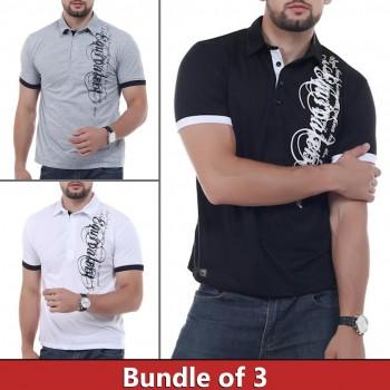 Bundle of 3 Signature Polo Printed T-shirts