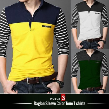 Pack of 3 Raglan Sleeve Color Tone T-shirts