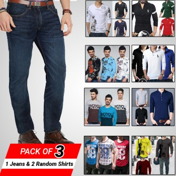 Pack of 3 (1 jeans, 2 Random Shirts)