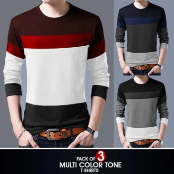 PACK OF 3 Multi color tone t-shirt