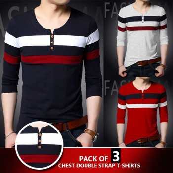 PACK OF 3 Chest double strap t-shirt