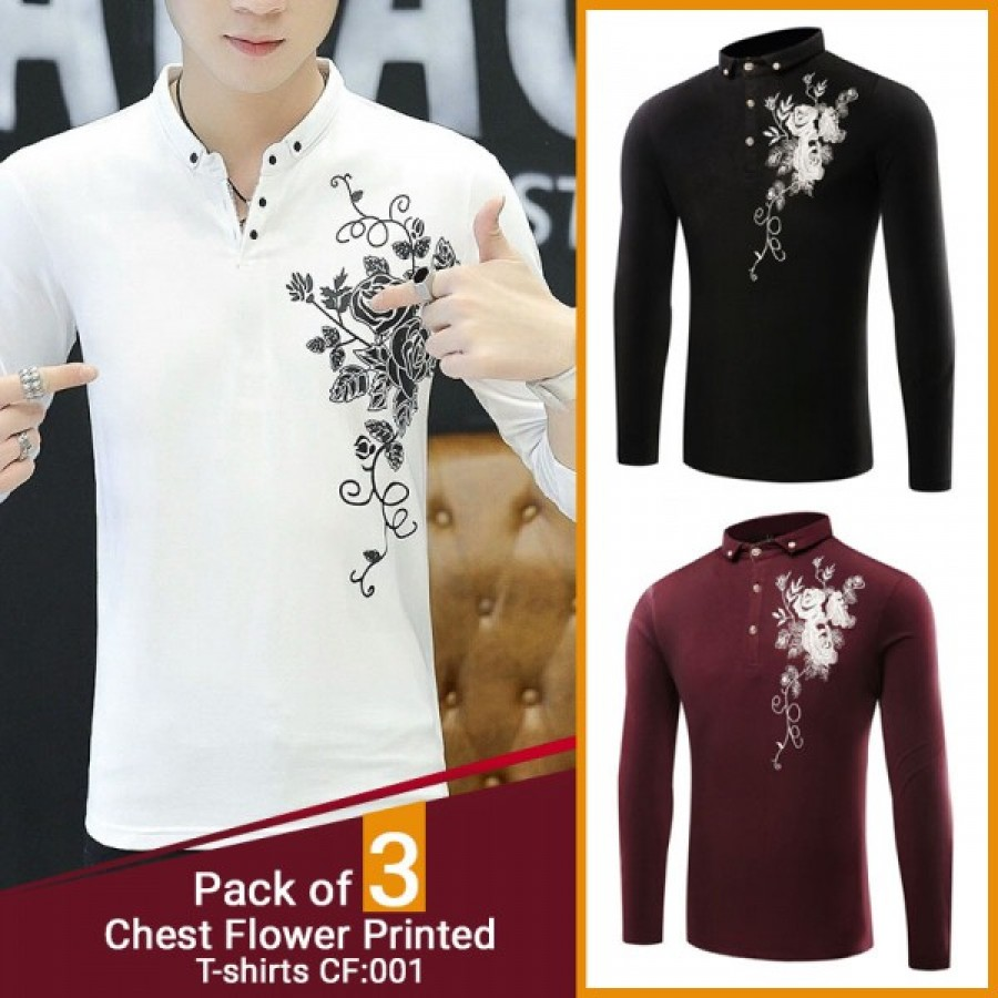 Pack of 3 Chest Flower Printed T-shirts CF-001