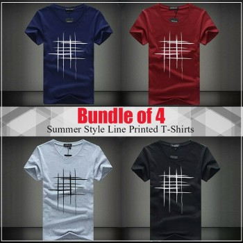 Pack of 3 Summer style line printed t-shirts