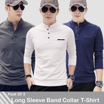 Pack of 3 Long Sleeve Band Collar T-Shirt