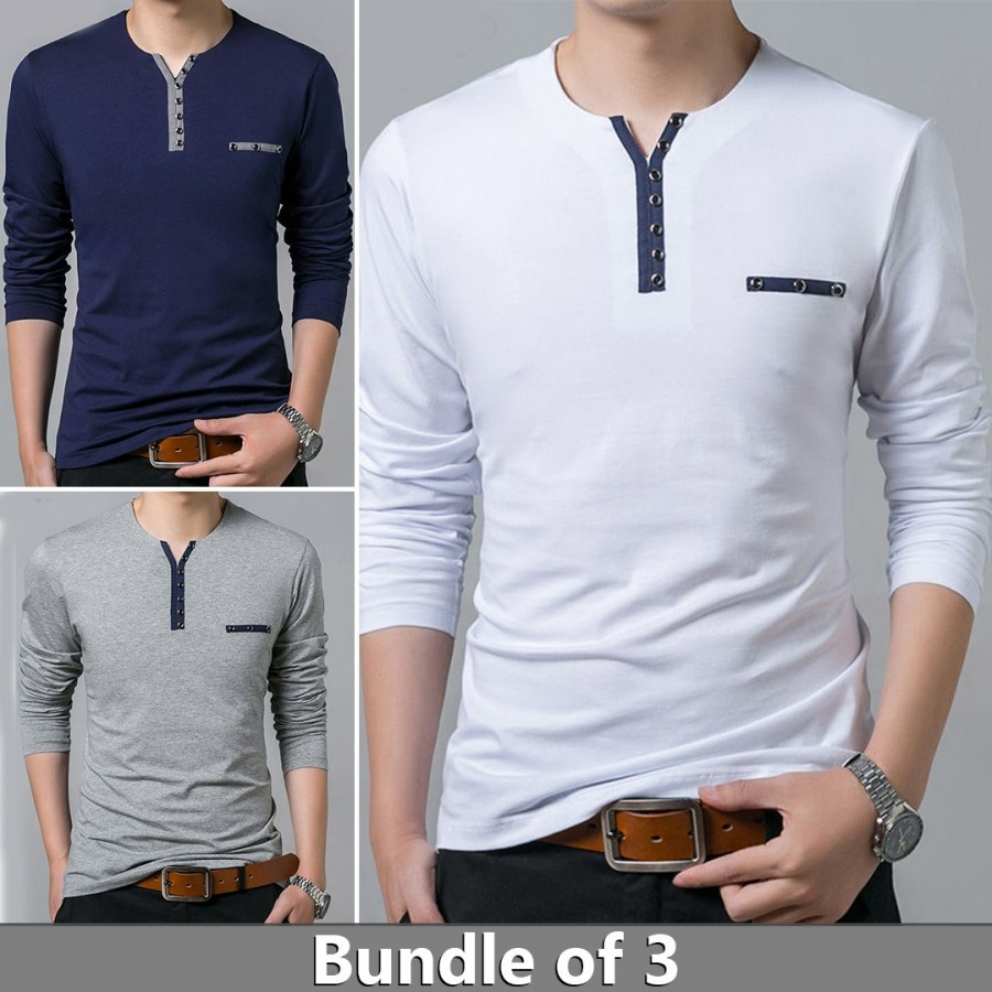 Bundle of 3 Contrast Y-Neck Button T-Shirts