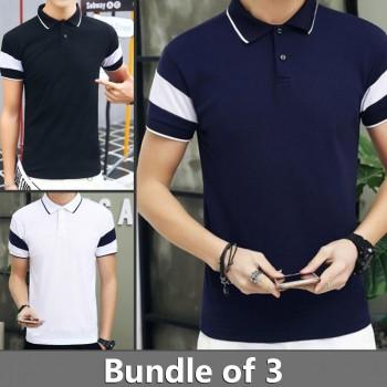 Bundle of 3 Stripe Sleeves Polo T-Shirts